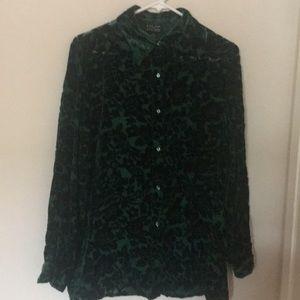 Emerald Green Button Up Blouse. Semi sheer.